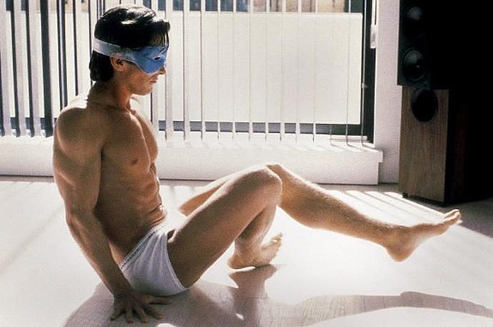 """Christian Bale does his  morning workout (let's be honest, that body is serious maintenance) in the 2000 cult-classic, <em>American Psycho</em> <br><br> Image courtesy of <a href=""""http://www.nydailynews.com/ """">NY Daily News</a>"""