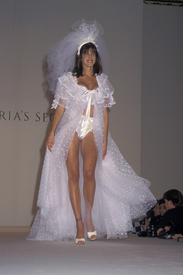 90's Super Stephanie Seymour walks in the 1996 Victoria's Secret show in bridal inspired lingerie
