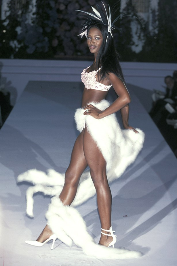 Naomi Campbell walks in the 1998 Valentine's Day show