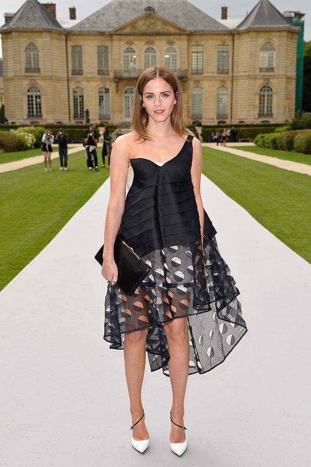 Emma Watson attends the Christian Dior Haute Couture show in Paris in July 2014