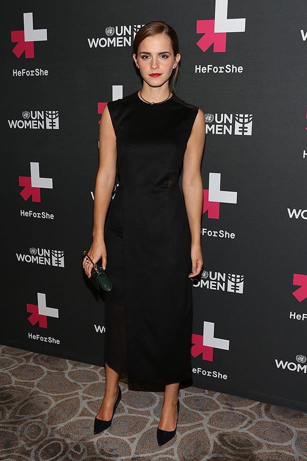 """The UN Women's Goodwill Ambassador attends the """"HeForShe"""" after party  in September 2014 wearing a Hugo Boss dress and accessorising with a Jennifer Fisher choker, M2Malletier clutch and Jimmy Choo 'Abel' pumps"""