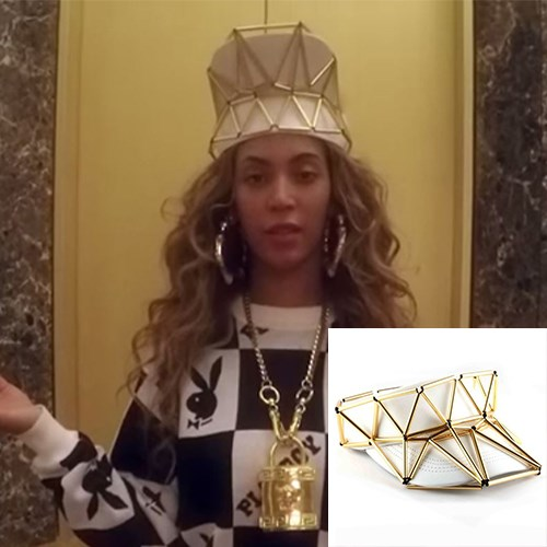 """<strong>CROWN VISOR</strong> <br><br> It's sold as an embellished visor, but Queen Bey flipped hers to make it a crown. Follow suit, loyal subjects. <br><br> <em>WXYZ Jewelry Visor Crown With Leather, $490, <a href=""""http://wxyzjewelry.com/"""">wxyzjewelry.com</a></em>"""