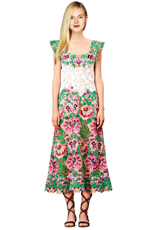 <strong>Elle Fanning – Florals</strong> <br><br> Botanic embroidery for the teen craft queen <br><br> Fanning wears Valentino Resort 2015