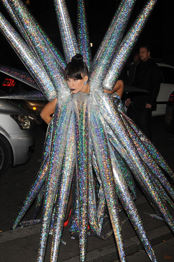 Lady Gaga wears an inflatable sea urchin costume