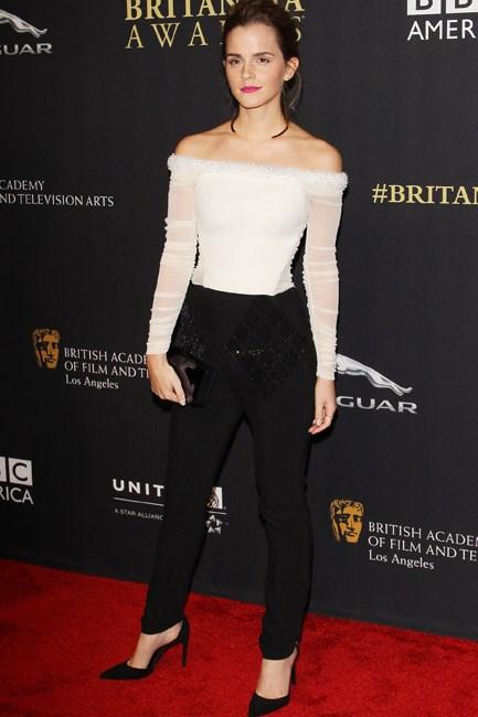 An embellished trim was a beautiful boarder for Emma Watson's Balenciaga top.