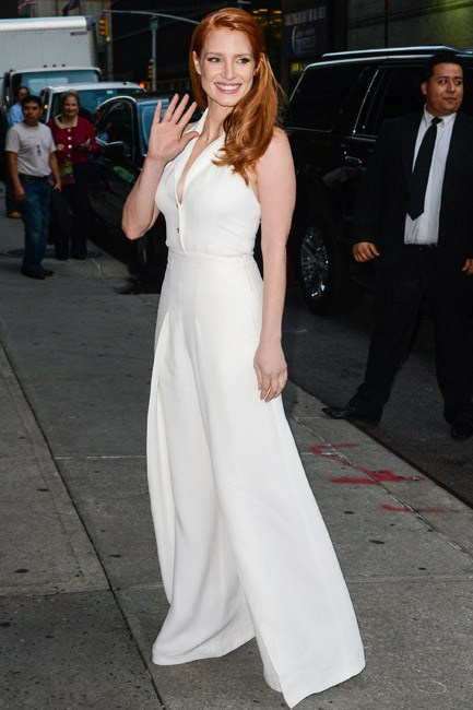 Hello chic! Jessica Chastain's Temperley Londonhalter jumpsuit, with a wide-leg pant, was oh-so flattering and fresh.
