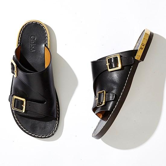 "<a href=""http://shop.davidjones.com.au/djs/en/davidjones/calf-flat-mule-with-double-buckles"">Chloé double buckle slides</a>."