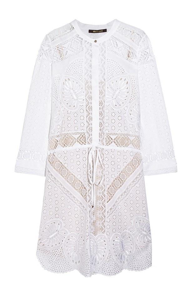 "Dress, $2910, Roberto Cavalli, <a href=""http://www.net-a-porter.com/product/496430/Roberto_Cavalli/broderie-anglaise-cotton-mini-dress "">net-a-porter.com</a>"