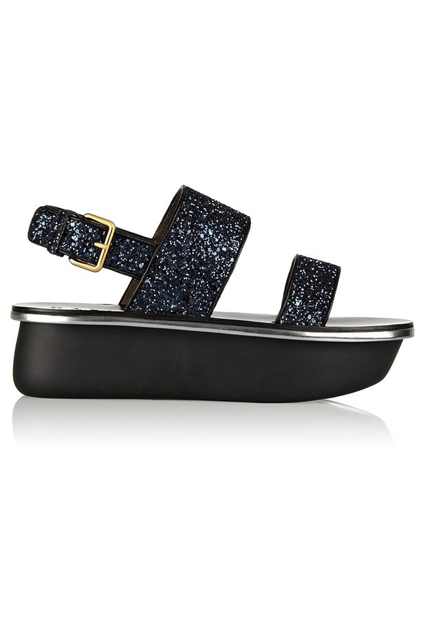 "Flatform, $738, Marni, <a href=""http://www.net-a-porter.com/product/456013/Marni/glitter-finished-leather-sandals"">net-a-porter.com</a>"