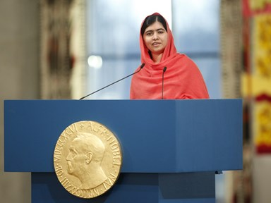 Malala just became the youngest person ever to accept the Nobel Peace Prize