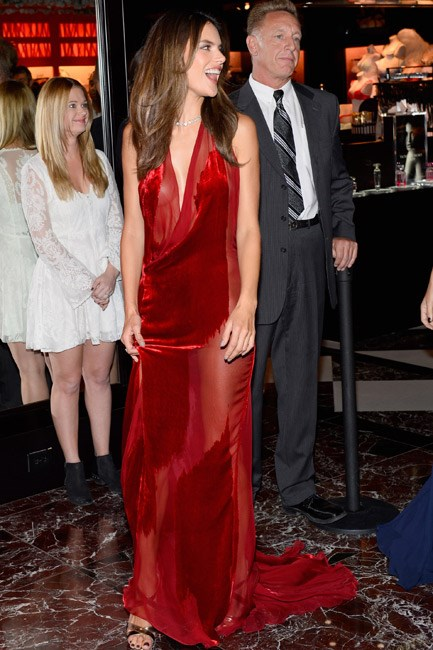 Alessandra Ambrosio was red-hot and heavenly in a Cushine et Ochs gown.