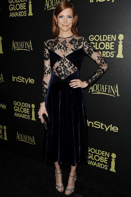Navy velvet and sexy lace was a winning combination for Darby Stanchfield in Huishan Zhang.