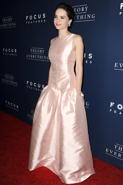 Felicity Jones was a dream in Dior—with those pockets giving a modern touch to this frou-frou moment.