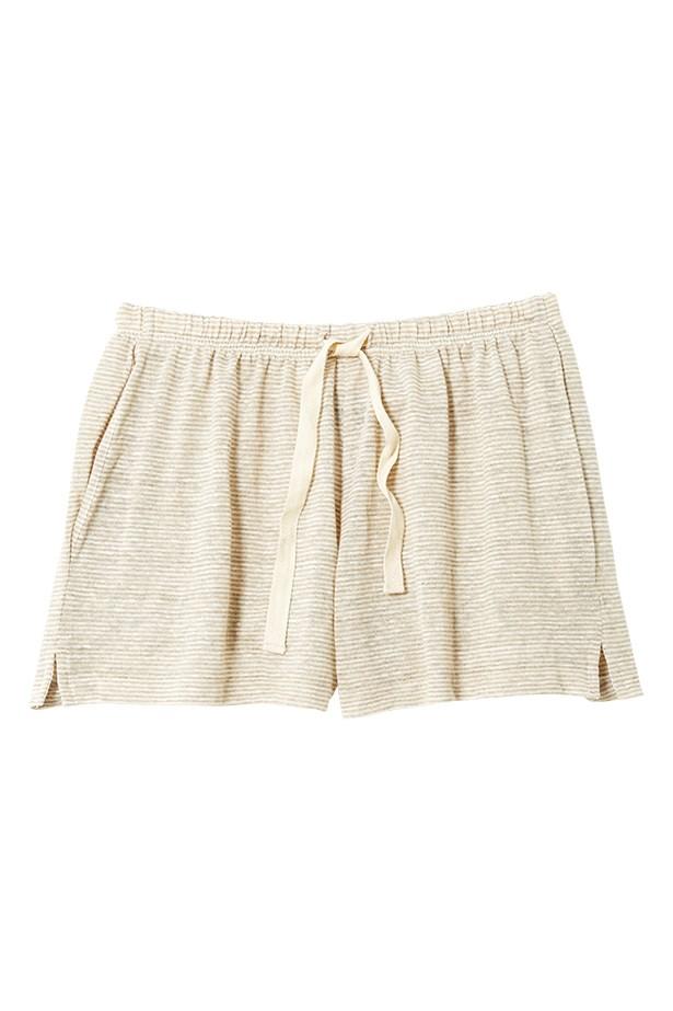 "<a href=""http://www.bassike.com/shop/women/shorts/mini_stripe_linen_beach_short/20384/BER.NAT"">Shorts, $140, Bassike, bassike.com</a>"