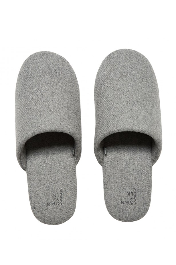 "<a href=""http://www.elkaccessories.com.au/collections/50/somn-sleepwear/215/womens-samn-sleepwear/691/unisex-dutten-slipper#4598"">Slippers, $49, sömn, elkaccessories.com.au</a>"