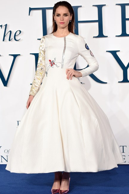 Felicity Jones looked the part of a modern-day princess in Dior couture.