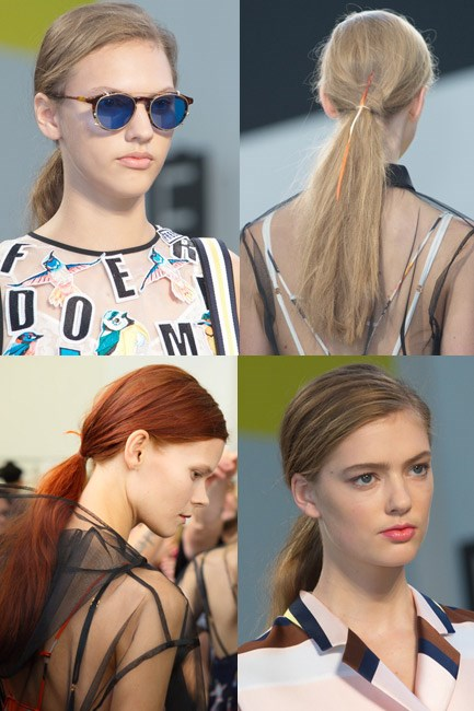 <strong>The Windswept Factor</strong><br><br> Using a wide-tooth comb divide your hair to one side (make sure the part is not straighty-180) and tie at the nape of your neck for low-maintenance pretty.<br><br> <em>Runway muse: MSGM</em>