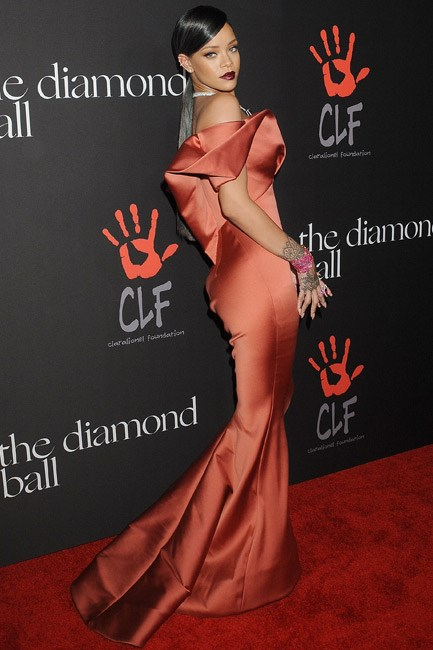 <strong>Rihanna</strong><br><br> <strong>FEMININE:</strong> Flirting with frou-frou in Zac Posen.