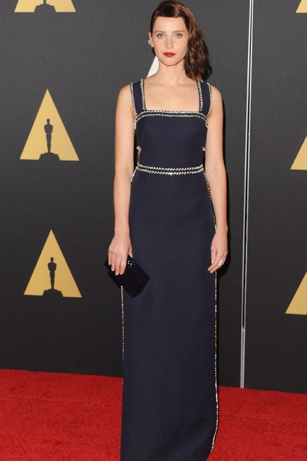 <strong>Felicity Jones</strong><br><br> <strong>PUNK: </strong>Looking tough-chic in hairdo and in a Prada gown.