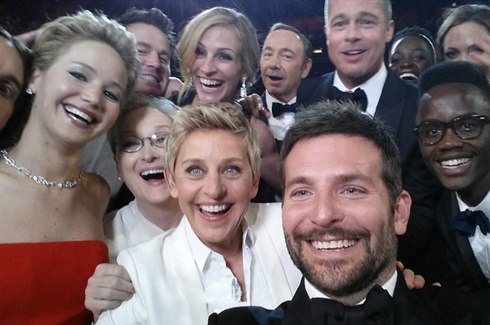 <strong>Ellen's Oscars selfie</strong><br> It was the shot that stopped twitter. Ellen DeGeneres' group shot at the Academy Awards starring Jared Leto, Jennifer Lawrence, Meryl Streep, Bradley Cooper, Peter Nyong'o Jr., Channing Tatum, Julia Roberts, Kevin Spacey, Brad Pitt, Lupita Nyong'o and Angelina Jolie. It was retweeted over 3million times, making it the most retweeted selfie of all time. And though it spawned a bunch of memes and hundreds of copycats, no other shot came close to topping it - but in saying that, Kim Kardashian also announced her selfie book this year....