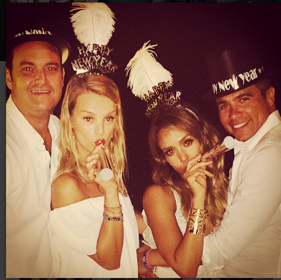 @jessicaalba and friend and family wore all white everything