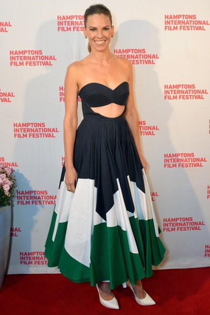 Fifties-<em>esque</em>, flirty and fabulous: Hilary Swank at the Hamptons International Film Festival.