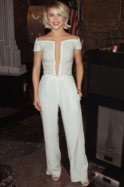 Julianne Hough's Georges Hobeika couture jumpsuit got the pearl treatment and it worked a treat.