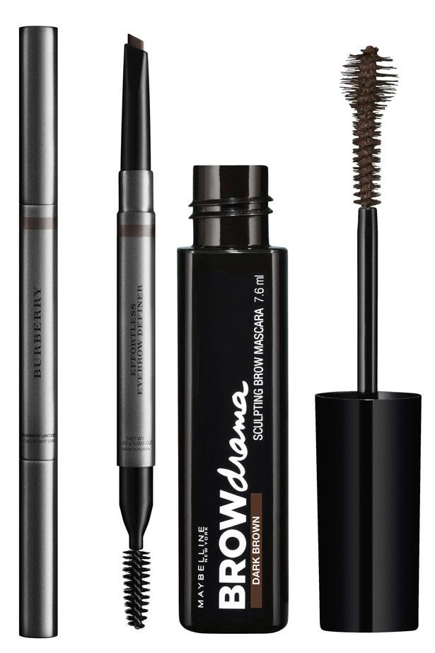 """<p><strong>Brows</strong></p> <p>Draw tiny strokes to mimic hairs in your brow, and set in place with a tinted brow gel. </p> <p><em>Effortless Eyebrow Definer $44, Burberry, <a href=""""http://au.burberry.com"""">au.burberry.com</a></em></p> <p><em>Brow Drama Sculpting Brow Mascara, $12.95, Maybelline New York, <a href=""""http://www.maybelline.com.au/"""">maybelline.com.au</a></em></p>"""