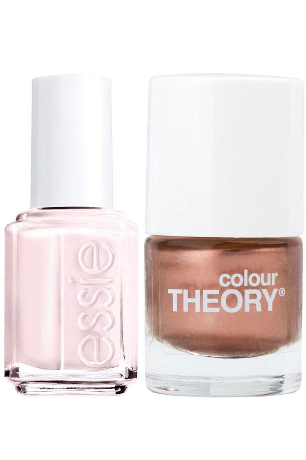 <p><strong>Nails</strong></p> <p>Try gold and milky pink nail polishes to finish the look. </p> <p><em>Nail Polish in Rose Gold, $4, Colour Theory, 1300 660 439 <p>Nail Polish in Ballet Slippers, $16.95, Essie, 1300 369 327 </em></p>