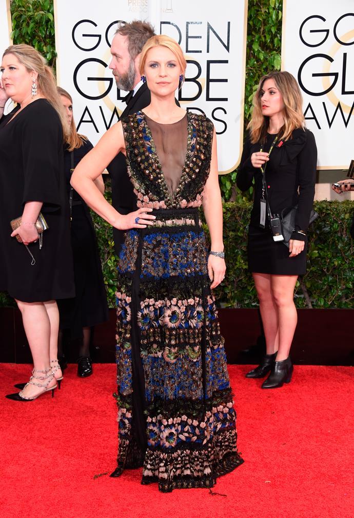 Claire Danes wearing Valentino and Lorraine Schwartz jewellery