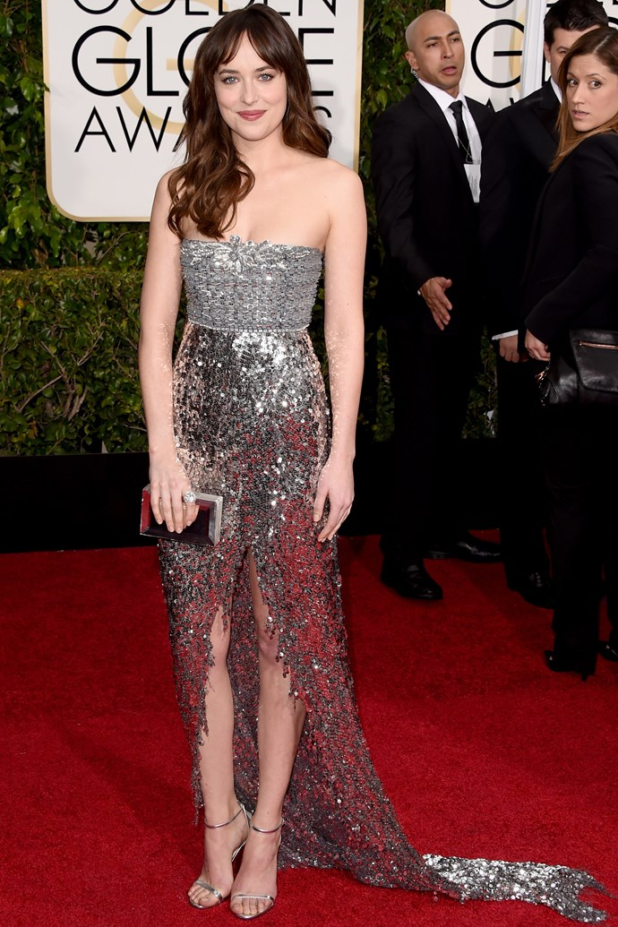 """<em>Fifty Shades Of Grey</em> star <strong>Dakota Johnson</strong> was a vision in sparkly Chanel couture. She also makes a strong case for a fringe. <br><br> <em>Related: <a href=""""http://www.elle.com.au/news/celebrity-news/2013/11/first-look-fifty-shades-of-grey/"""">First look: Fifty Shades Of Grey</a></em>"""