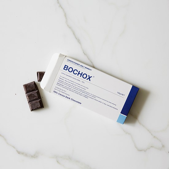 """Dark chocolate for a cheeky afternoon snack. <a href=""""http://www.bloomsberry.com/product/bochox/"""">Bochox 70% Cocoa Dark Chocolate, $5.99, Bloomsberry, bloomsberry.com</a>"""