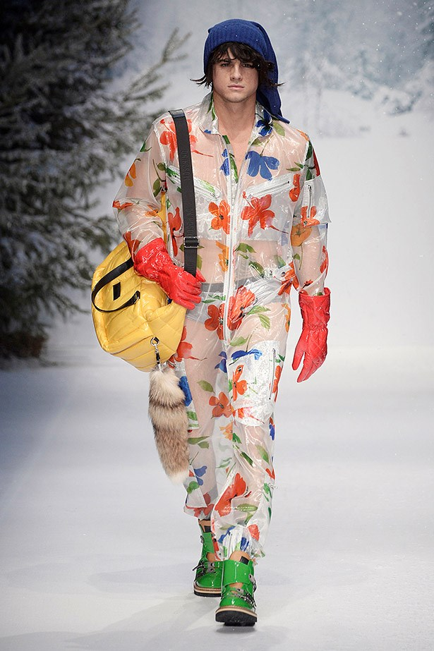…while Moschino's technicolour, floral, transparent option is best left for the daring. <em>Moschino aw15</em>