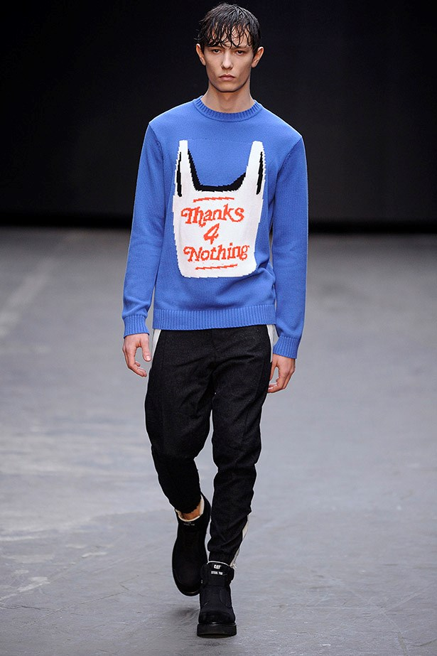 """Slogan sweaters: A picture sweater is worth more than a thousand words, or four: """"Thanks 4 nothing."""" <em>Christopher Shannon aw15</em>"""