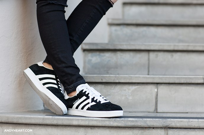 "Adidas Gazelle on <a href=""http://www.andyheart.com/2014/11/black-coat.html"">Andy Heart</a>"