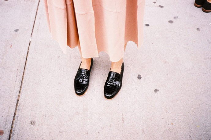 """<a href=""""http://www.mnzstore.com/collections/shoes/products/croc-patent-loafer-black """">Loafers, $275, Dieppa Restreppo, mnzstore.com</a>"""