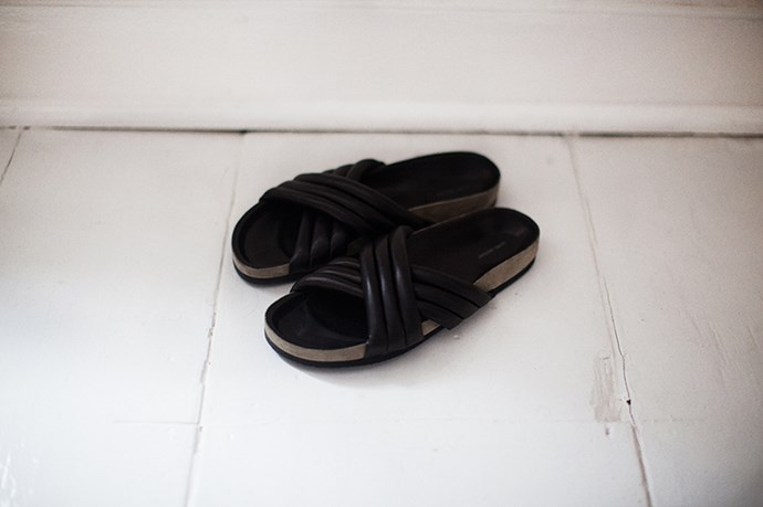 "Isabel Marant slides on <a href=""http://www.girlalamode.co.uk/leather-pool-sliders/"">Girl A La Mode</a>"