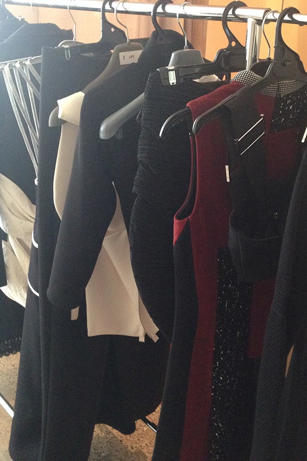 A rack of clothing behind the scenes at our shoot with Rosie Huntington-Whiteley.
