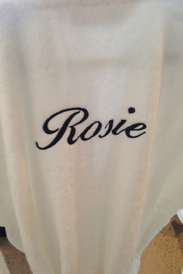 Rosie's personalised robe behind the scenes at our shoot.