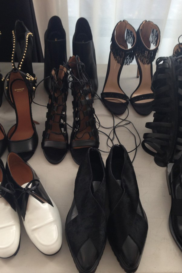 The shoe options behind the scenes on our shoot with Rosie Huntington-Whiteley.