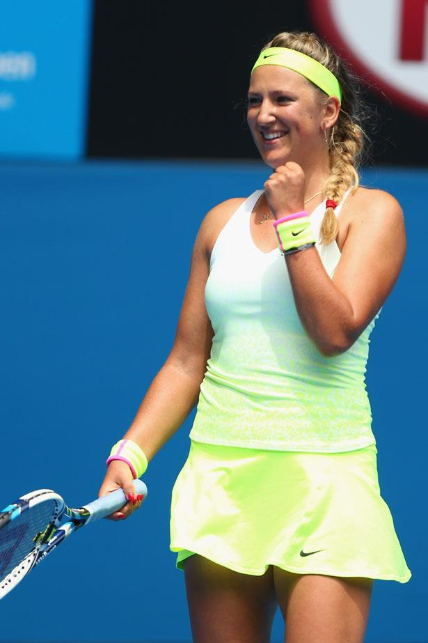 Victoria Azarenka wears trend of the tournament, fluoro Nike.