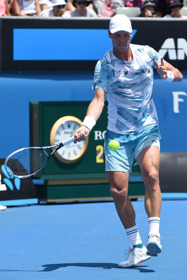 Tomas Berdych wears an unexpected choice, clothing from Swedish fashion giant H&M