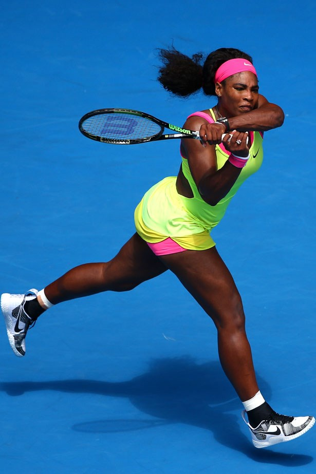 Serena Williams continues her long-running partnership with Nike. We anticipate more fluoro attire in coming days.