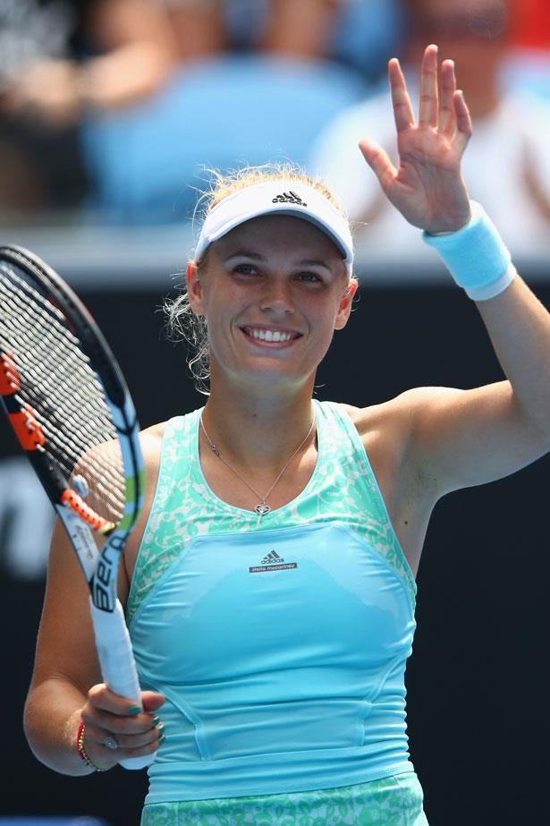 Caroline Wozniacki is kitted out in fashions favourite sportswear brand, Adidas by Stella McCartney.