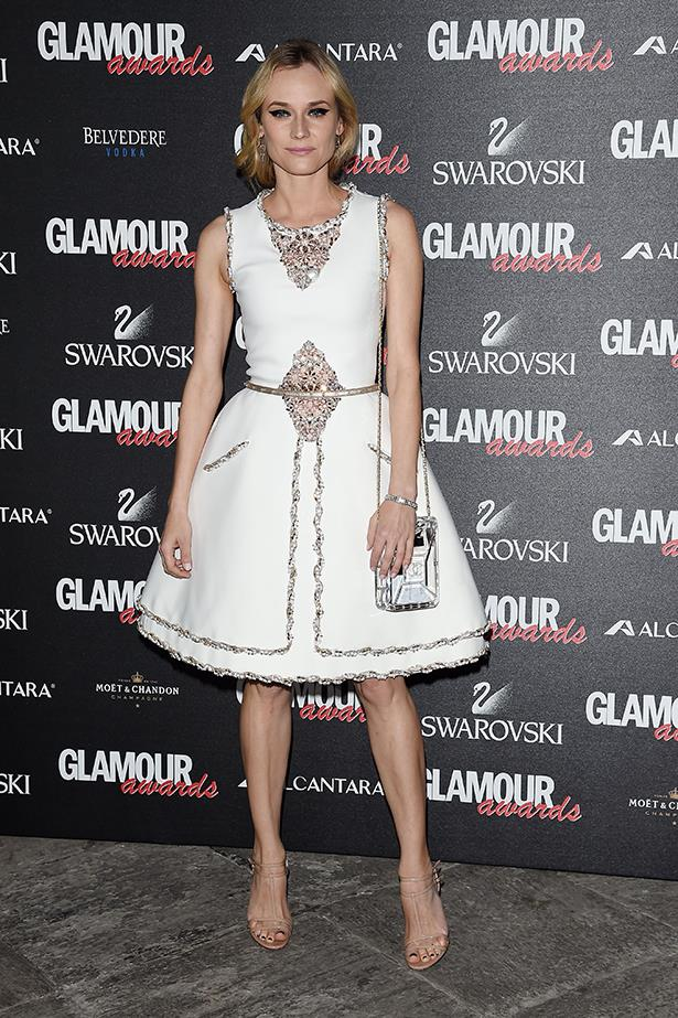 Diane Kruger wearing Chanel Couture at the 2014 Glamour Awards in December.
