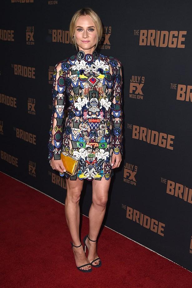 "Diane Kruger wearing Mary Katrantzou at FX's ""The Bridge"" Season 2 Premiere, July 2014."