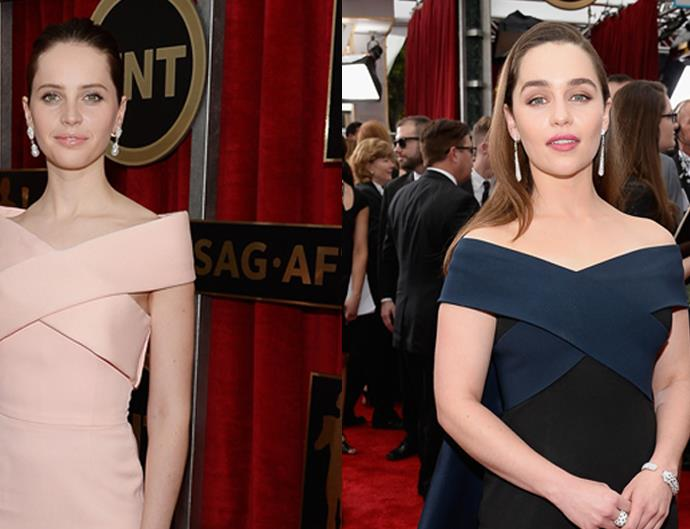 Felicity Jones and Emilia Clarke red carpet twin moment