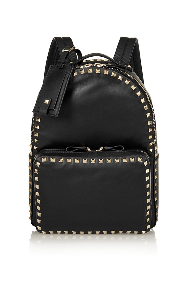 "Backpack, $3641, Valentino, <a href=""http://www.net-a-porter.com/product/508115/Valentino/the-rockstud-medium-leather-backpack"">net-a-porter.com</a>"