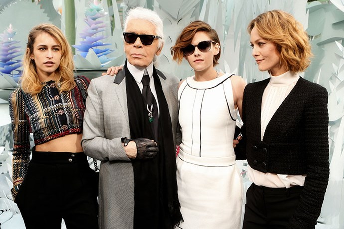Karl Lagerfeld with Kristen Stewart, Alice Dellal, and Vanessa Paradis