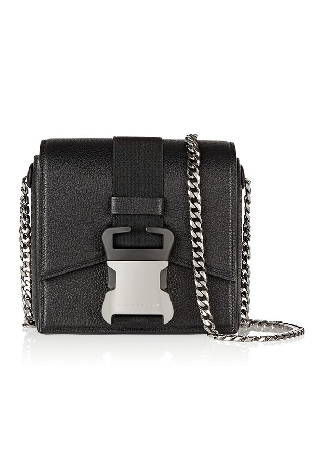 "Bag, $1658, Christopher Kane, <a href=""http://www.net-a-porter.com/product/514010/Christopher_Kane/safety-buckle-textured-leather-shoulder-bag "">net-a-porter.com</a>"